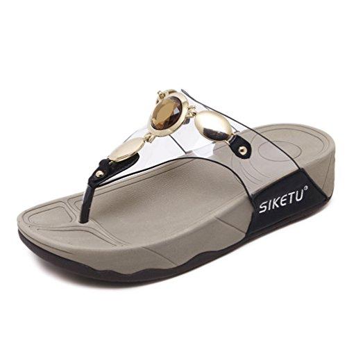 Chaussures Tongs Noir Plateforme Été Marche JRenok Talon Mode 35 pour Sandales Femme 41 Loisir Confortable Ycgqv1w