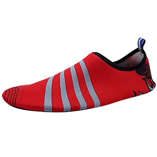 (Outdoor Hiking Slip On Flexible Pool Beach Swim Surf Yoga Wetshoes Skin Shoes Red 9.5)