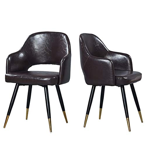 GreenForest Leather Dining Chairs PU Cushion Seat Metal Legs, Accent Side Chairs with Armrest Set of 2, Chocolate For Sale