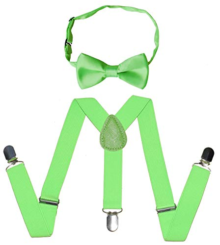 - Raylarnia Children Kids Suspenders Bowtie Set,Extra Sturdy Polished Silver Metal Clips,Adjustable Length 1 inches Suspender with Bow Tie Set for Boys and Girls-Super green