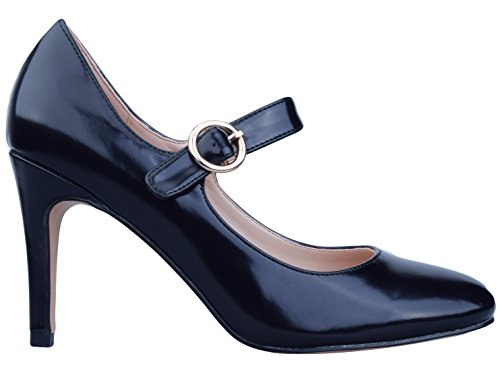 Greatonu Womens Sweet Ankle Strap Mary Jane Shoes Black 3q6afpkN3