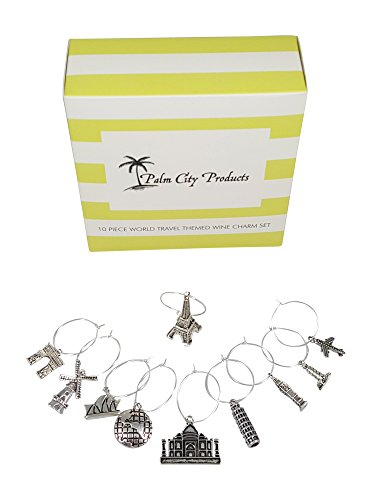 10 Piece World Travel Themed Wine Charm Set
