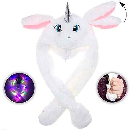 Gorro Unicornio Blanco Peluche con Orejas Que se mueven y luz