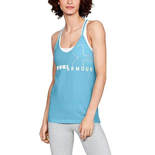- Under Armour Women's Graphic Fashion Logo Tank, Venetian Blue (448)/Metallic Silver, X-Large