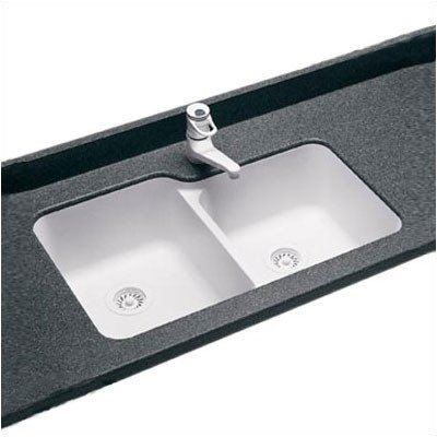 Swanstone US03015SB.015 Solid Surface Undermount Double-Bowl Kitchen Sink, 33-in L X 21.25-in H X 8.25-in H, Black Galaxy