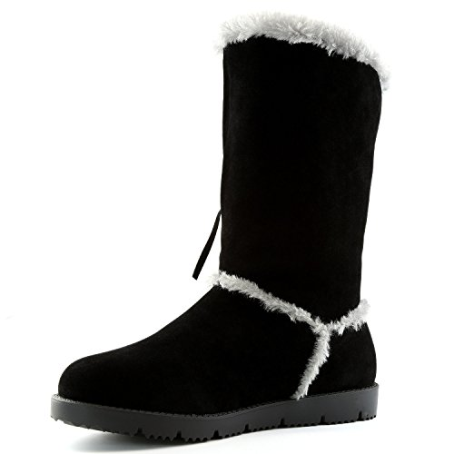 DailyShoes Womens Comfort 2-Layer Flat Fringe Round Toe Knee High Eskimo Moccasin Winter Snow Mid Calf Boots Black A2hiz2EoPz