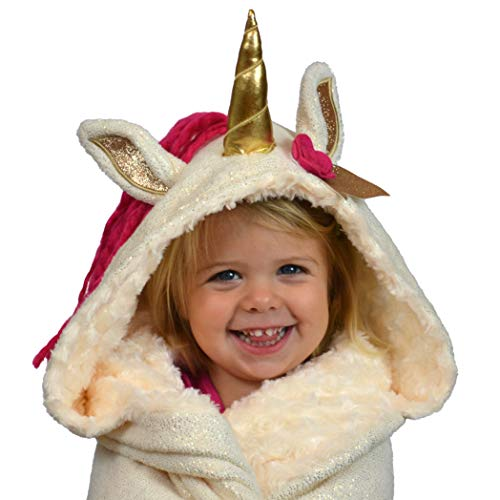 Hooded Unicorn Throw Blanket, Perfect for Little Girls of All Ages - Large 66x42 Size for Kids, Tweens, and Adult Women, Gold Horn, Pink Mane, Soft Sparkly Fleece, Fuzzy Mink, Ruby Wrap
