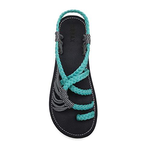 EAST LANDER Flat Sandals for Women Braided Strap Beach Shoes ZD002-W4-10 Mint