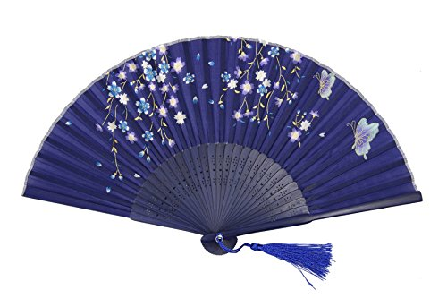 DawningView Japanese Folding Fan, Golden Stems and Butterflies HF-225 (fabric case and ()