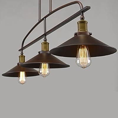YOBO Lighting Antique Kitchen Island Pendant, 3-light Metal Ceiling Chandelier