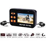 Bikers Camera,AUTOLOVER DV188 motorcycle dash cam 1080p Dual Lens Motorcycle Action Camera 2.7 LCD Screen 130 Degree Angle Motorcycle Driving Recorder with G-sensor Function