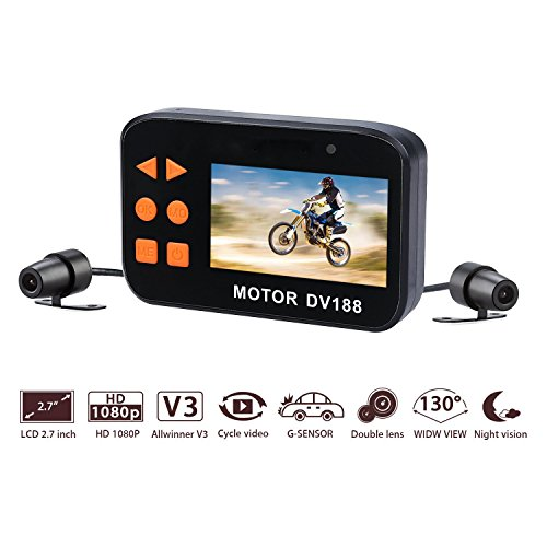 Bike Camera,AUTOLOVER DV188 Motorcycle Dash cam 1080p Dual...