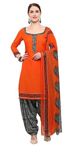 Rajnandini Orange Crepe Printed Unstitched Salwar Suit Dress Material