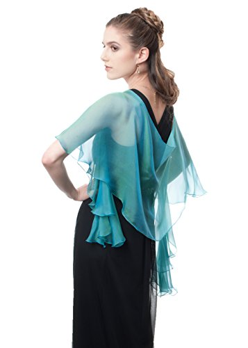 Lena Moro FLUTTERING SCARF Green Various Colors 100% Silk Two Tone Chiffon Evening Shawls (455 Peacock)