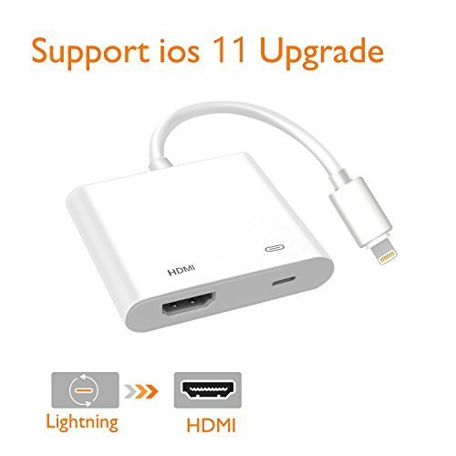 Lightning Digital AV Adapter, Lighting to HDMI Adapter, Compatible iPhone, iPad, and iPod Touch Models, with Lightning Charging Port for HD TV Monitor Projector 1080P (White) by ER