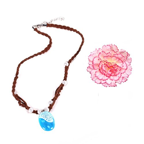 Little Girls Cartoon Digital Print Princess Moana Costume Dress Necklace Flower Hair Clip