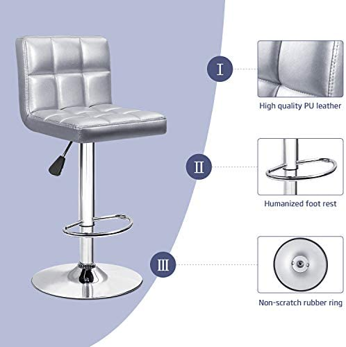 Furniwell Bar Stools Barstools Modern Square PU Leather Adjustable Barstool, Armless Counter Height Swivel Bar Stool with Back Set of 2 Silver