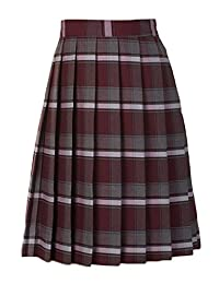 Cookie's Brand Big Girls' Pleated Skirt - Burgundy/Gray/White *Plaid #91*, 20