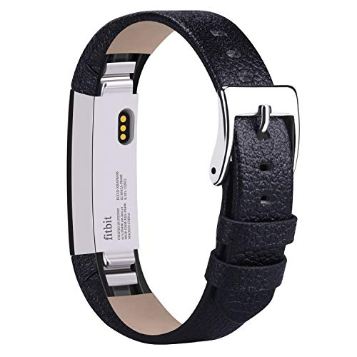 Vancle Compatible with for Fitbit Alta Bands Leather, Adjustable Replacement Accessories Fitbit Alta HR Bands for Women Men (2. Black)