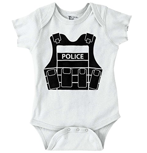 Police Vest Funny Baby Clothes | Cute Newborn Gift Idea Law Romper Bodysuit (Vest Police Bulletproof)