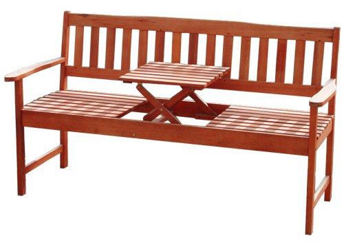 KMH®, Gartenbank aus massivem Eukalyptusholz (mit integriertem, einklappbarem Tisch) (#101909)