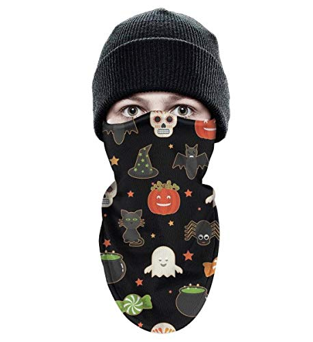 Adult Ski face Mask Outer Layer Winter Face Mask Breathable Fabric Motorcycle Riding Tactical Winter Face Mask Halloween Candy Skull cat Pumpkin Black -