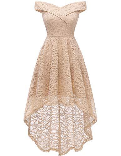 Homrain Women's Off Shoulder Hi-Lo Floral Lace Dress Vintage Elegant Cocktail Party Wedding Dresses Champagne XL