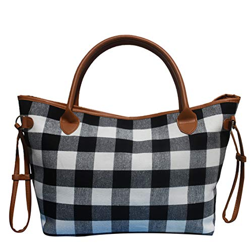- Buffalo Plaid Tote Bag Leopard Print Shoulder Bags with Polyester Lining (White Buffalo Plaid)