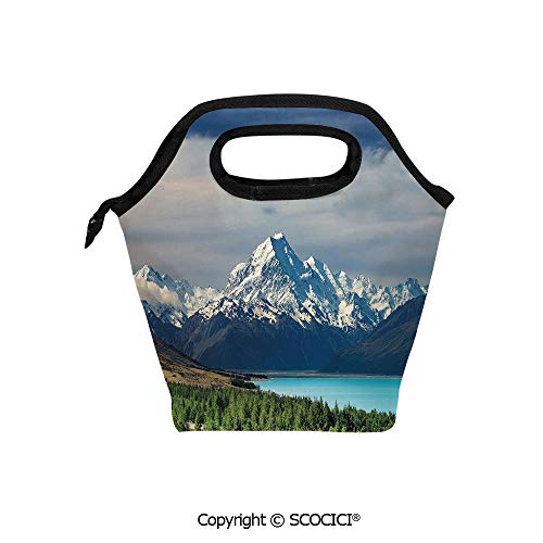 Insulation portable lunch box bag Mount Cook and Pukaki Lake in New Zeland Landmark Scenic Scenery Forest Soft Fabric lunch bag Mummy bag.]()