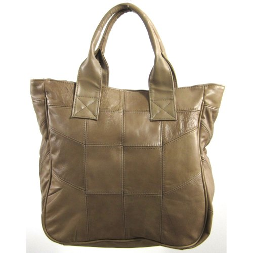Beige Beige Handles By Lorenz Shopper tan Navy With Real Black Or Leather Thick Brown Handbag 6TZUq