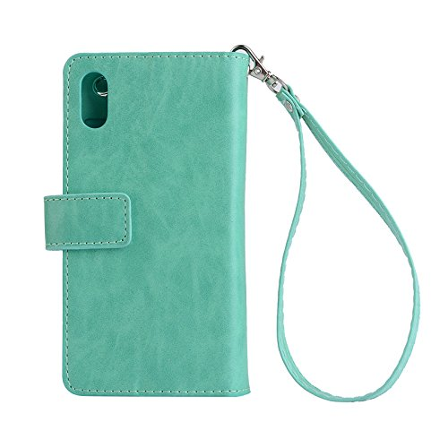 iPhone XR Cases 6.1 Inch,Premium Leather Lightweight Cover Full-Body Zipper Card Slots Wallet Retro Vintage Design Money Pocket Clutch Cover Billfold Pouch Magnetic Sleeve for iPhone XR(Green)Boens