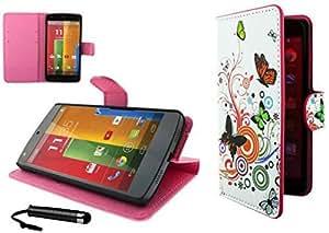Pretty Series Motorola Moto G DVX XT1032 Book Flip Stand Case Cover Included Calans Screen Protector Mini Stylus -(P8)