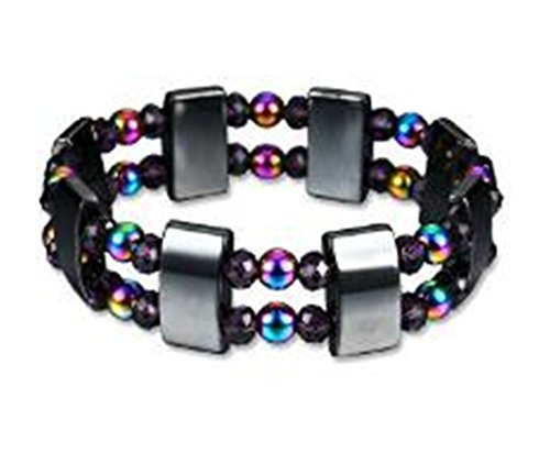 Double New Strand (Tmrow Rainbow Double Strand Magnetic Hematite Therapy Bracelet, Arthritis Pain Relief Jewelry)