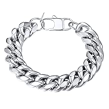 Cuban Chain Bracelet Men 316L Stainless Steel 14mm Wide Big Hand Chain Bracelet Men Jewelry Gift for Him, PSH2914