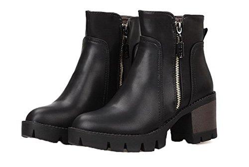 a Zip Noir a Chiusa EuX99 Tacco Donna Scarpe Stivali Corti Shoes AgeeMi Inverno Blocco wxqY8OtI
