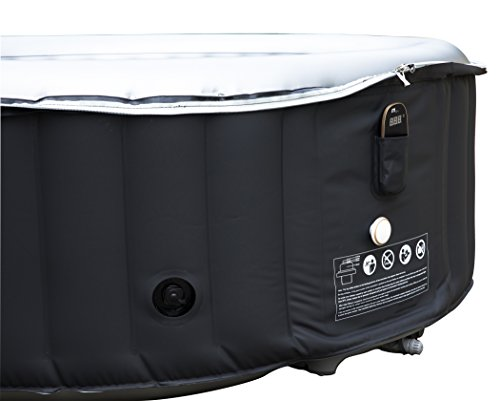 MSPA Silver Cloud 2019 Edition Portable Inflatable Quick Heating Round Hot Tub Spa Indoor/Outdoor Bubble Jacuzzi plus Heat Insulation Mat and Inflatable Bladder Heat Lid, Up to 4 Persons