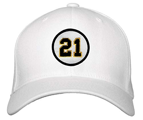 Roberto Jerseys Clemente - Roberto Clemente #21 Hat - Pittsburgh Baseball Adjustable Cap (White)
