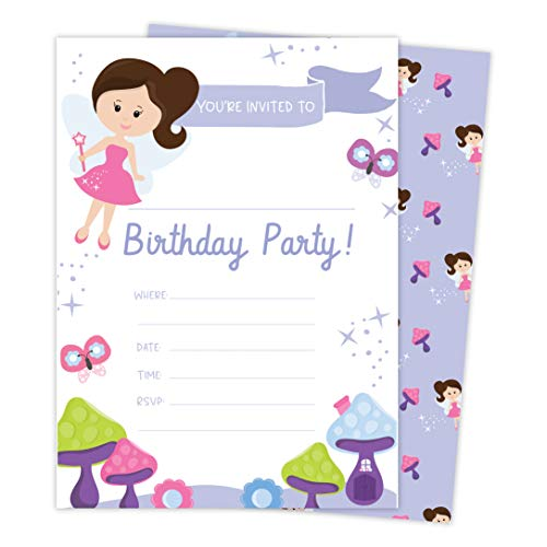 Party Invitations Fairy - Fairy 1 Happy Birthday Invitations Invite Cards (25 Count) With Envelopes & Seal Stickers Vinyl Girls Kids Party (25ct)