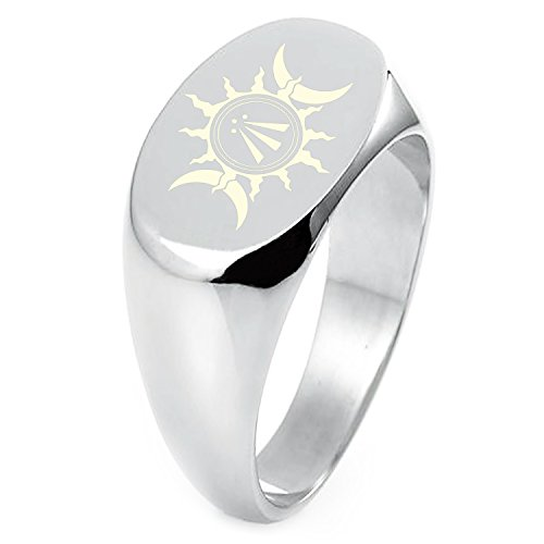 Sterling Silver Celtic Awen Arwen Sun & Moon Symbol Engraved Oval Flat Top Polished Ring, Size 6 ()