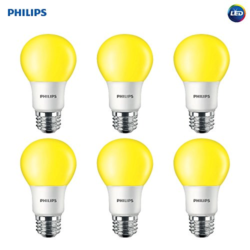 Philips LED 463190 60 Watt Equivalent Yellow A19 LED Bug Light Bulb, 6 Pack, Piece
