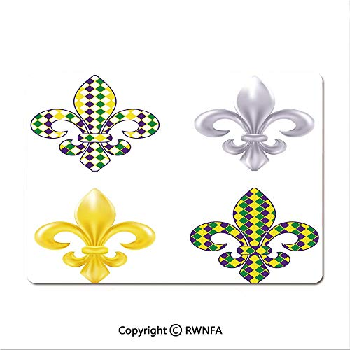Waterproof Keyboard pad,Fleur De Lis Motifs with Mardi Gras Pattern Traditional Lily Flowers Collection(9.8