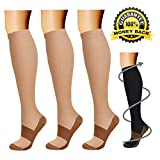 Copper Compression Socks (3 Pairs), 15-20 mmHg is Best Athletic & Medical for Men & Women, Running, Flight, Travel, Nurses - Boost Performance, Blood Circulation & Recovery (Small/Medium, Nude)