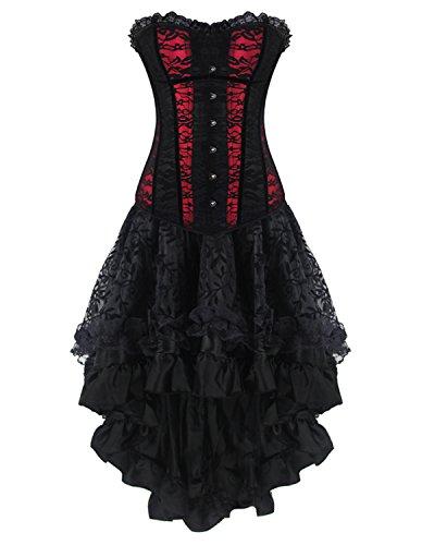 [Burvogue Women's Gothic Lace Corset Tops with Multi Layered Chiffon Skirt Set (XX-Large, Red)] (Steampunk Corset Dress)