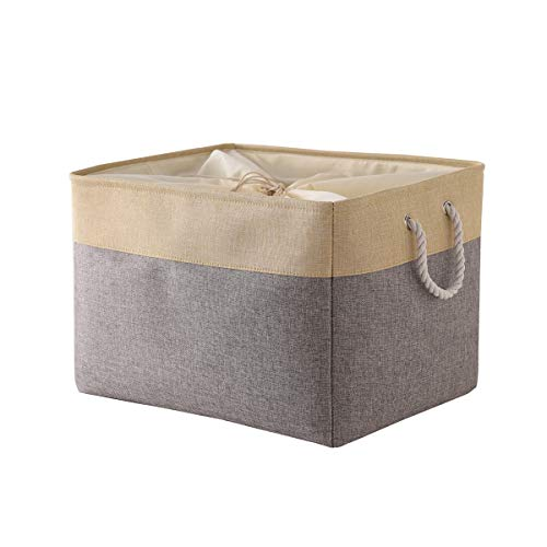 TheWarmHome Random Color Jumbo Basket Decorative Storage Basket Rectangular Fabric Storage Bin Organizer Basket with Handles for Clothes Storage (Grey Patchwork OR Grey Color, 20.5L×15.7W×13.8H)