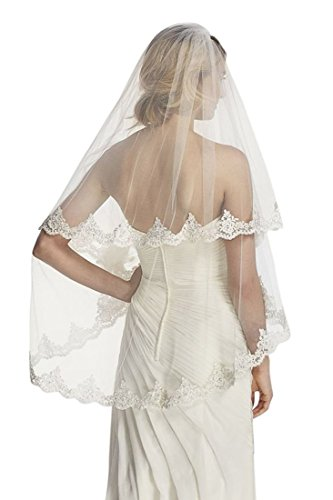 Passat Pale Ivory 2 Tiers 36Fingertip Length Wedding Accessories Wedding Veil French Lace Appliques H23
