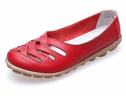 Vrouwen Instappers, Dames Casual Uitgesneden Lederen Platte Schoenen Moccasin Sandalen Rood