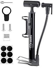 K-Brands Bike Pump - Compact and Portable Bike Floor & Sports Ball Air Pump - Aluminum Alloy Bicycle Tire