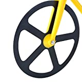 Bicycle Pizza Cutter - Bike Pizza Cutter - Dual Stainless Steel Non-Stick Cutting Wheels - Display Stand - Pizza Cutter