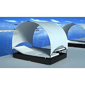 Patio Pool Side 2 Person Rattan & Wicker Sun Bed Lounge w/ Roof, Black