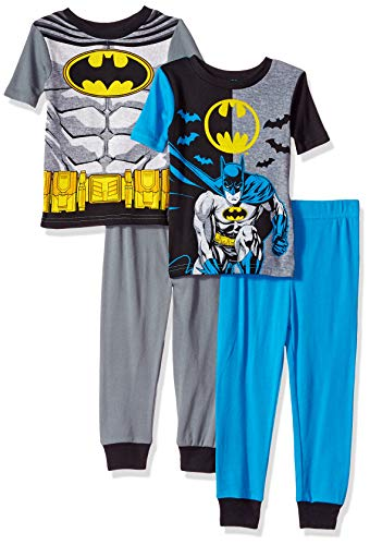 (DC Comics Boys' Big Batman 4-Piece Cotton Pajama Set, Arkham Blues, 8)